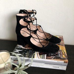 Zara Black Lace Up Heeled Shoes